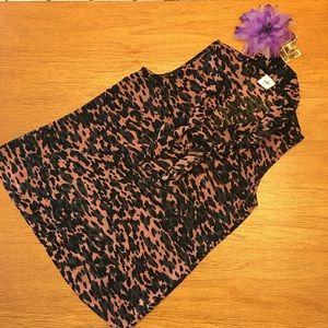 CAbi animal print sleeveless blouse size S